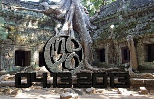 Tree roots growing over temple at Angor wat, Cambodia